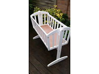 Swinging Baby Crib in White + Mattress
