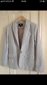 H&M blue pin stripe suit jacket size 10