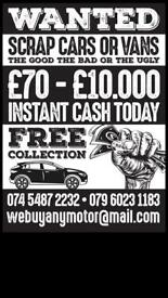 We buy any scrap car dead or alive £70-£10,000 instant quote