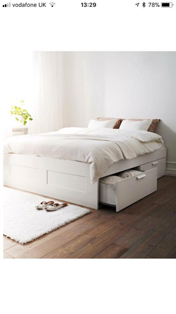 White Kingsize BED FRAME ONLY with storage - ikea brimnes | in ...
