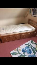 Solid pine single bed with under bed drawers