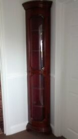 Corner Display Cabinet with Bow Fronted Glass Door