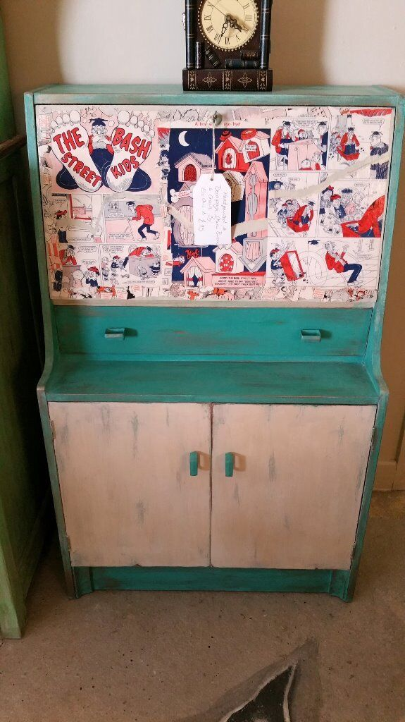 Decoupaged Childrens Desk Bureau With Chair In