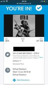 2 X SEATED JAYZ & BEYONCE TICKETS FOR MANCHESTER 13TH JUNE