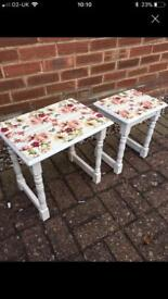 Restored and refinished nesting side tables