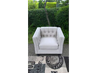 A New Hampton Cream Natural Fabric Material Buttoned Back Arm Chair