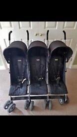 Black obaby triple stroller