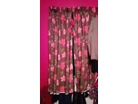 Beautiful brown with pink floral curtains: need uplifted by the end of the week