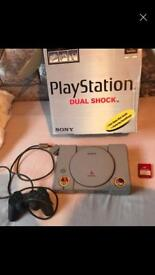 Original first PlayStation with controller & memory card