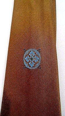 1960s – 70s Men's Ties | Skinny Ties, Slim Ties 1960s VLV Rockabilly Necktie Tie Blue Medallion Bronze Color Skinny Classic   $7.00 AT vintagedancer.com