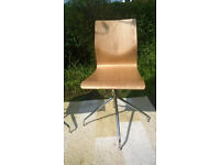 Two John Lewis Bentwood Oak and Chrome swivel Chairs