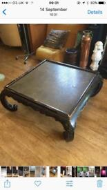 Vintage quality wood wooden brass copper large coffee low table orientalist Chinese