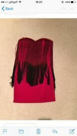 Red RARE London flapper dress with red and black tassels