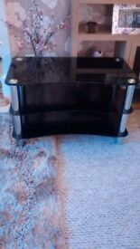 tv stand,3 tier glass,crome legs,