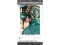 Green metal table & chairs