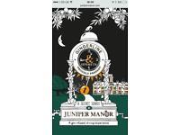 4 x Juniper manor dining experience tickets 14th Dec