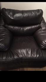 Black single leather sofa