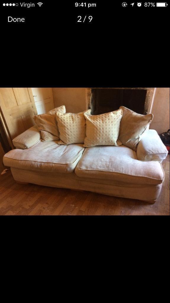 DFS sofa settee suite plus 2 chairs duck filled cream beige colour coat £2600 new