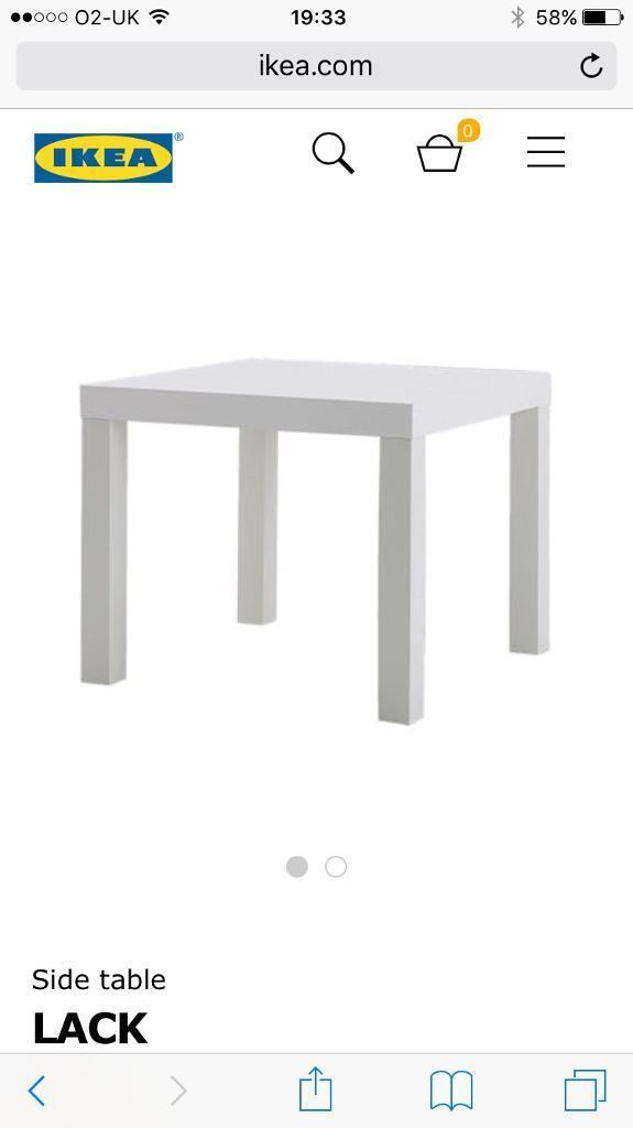 White lack side table