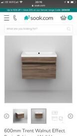 Walnut effect basin cabinet from Soak