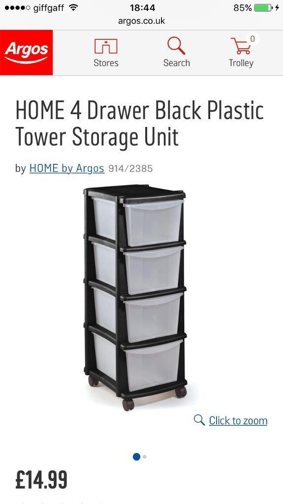 Argos 4 Drawer Black Plastic Storage Unit - 2 available