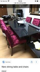 Gorgeous Black Granite Dining Table & 6 Stunning Designer Crushed Velvet Wine High back Chairs