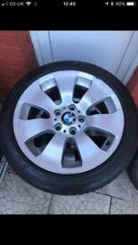 "4 genuine 17""Bmw alloy wheels with run flat tires"