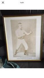 Framed Litho print of bare knuckle Boxer John L Sullivan