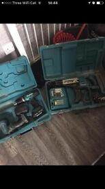 Makita screwgun auto feed and combi drill + torch power tools cordless