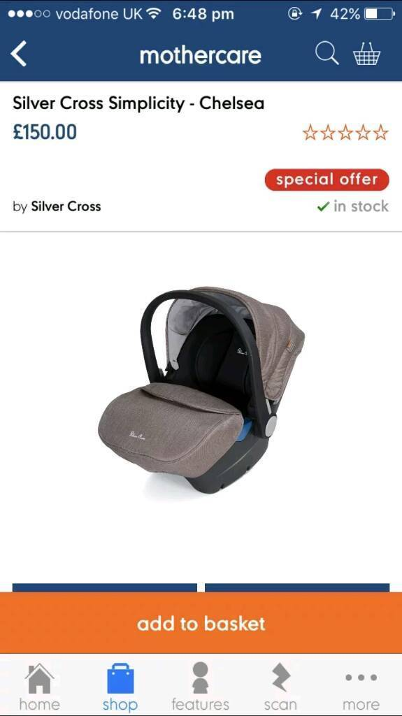 BRAND NEW Silver cross chelsea car seat
