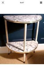 Vintage Half Moon Half Table, Marble Effect