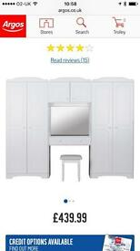Double wardrobe with dressing table, mirror and stool.