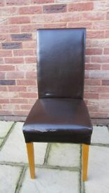 8 x quality faux leather dining chairs (seats need recovering - backs good)
