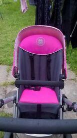 pink grey puschair