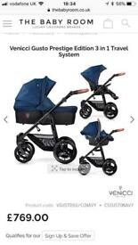 Pram - Venicci Gusto 3 in 1 travel system Navy