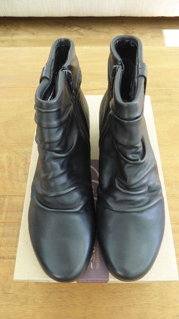 Clarks black leather ankle boots, size 6, Wide Fitting, BNIB £30