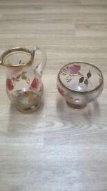 lovely flower design suger bowl and milk jug