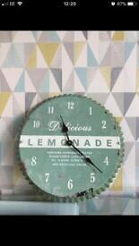 Retro Green Delicious Lemonade Wall Clock