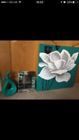 Teal painting, picture frame And ornament