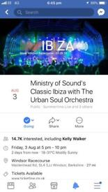 2 x tickets for Ministry of Sound Ibiza Classics with Orchestra 03/08 £25 each
