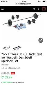 York Fitness cast iron 50kg barbell/dumbell set