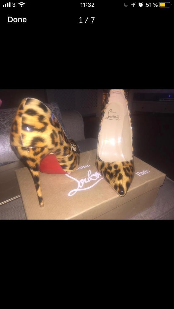 Designer red sole leopard print stiletto pointed heels with box