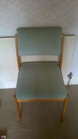 Green upholstered high back dining or office chair, excellent condition