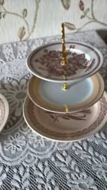 three tier cake stands brown vintage colour