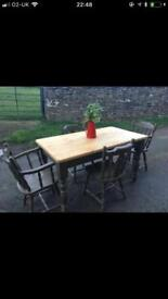 Lovely Solid Pine Farmhouse Table & 4 Chairs, 2 Of Which Are Carver (Farrow & Ball)