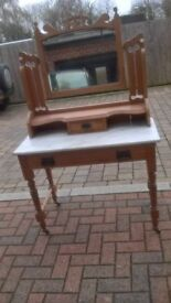 old pine and marble small dressing table.