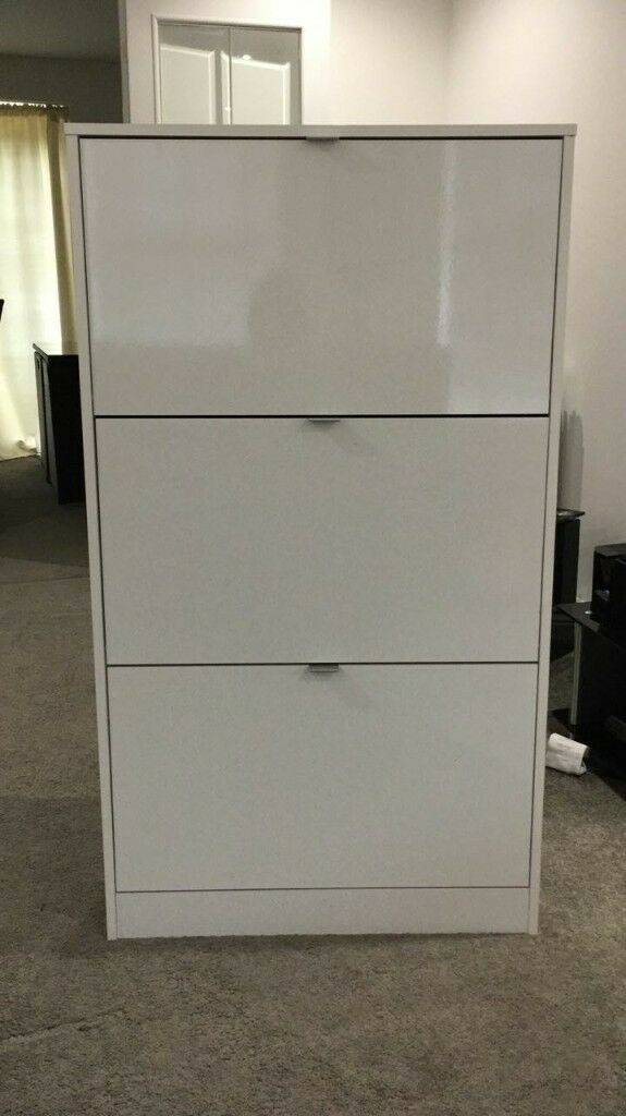 white gloss shoe cabinet