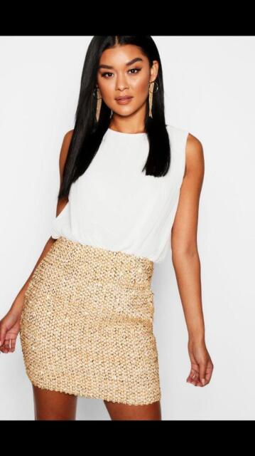 6864bc46badb Boohoo dress 2 in 1 white chiffon gold sequin skirt | in Cambridge ...