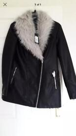Newlook faux leather coat size 14