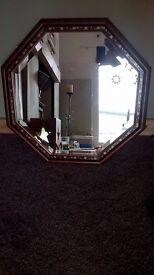 Beautiful gold leaf inlay hexagonal mirror